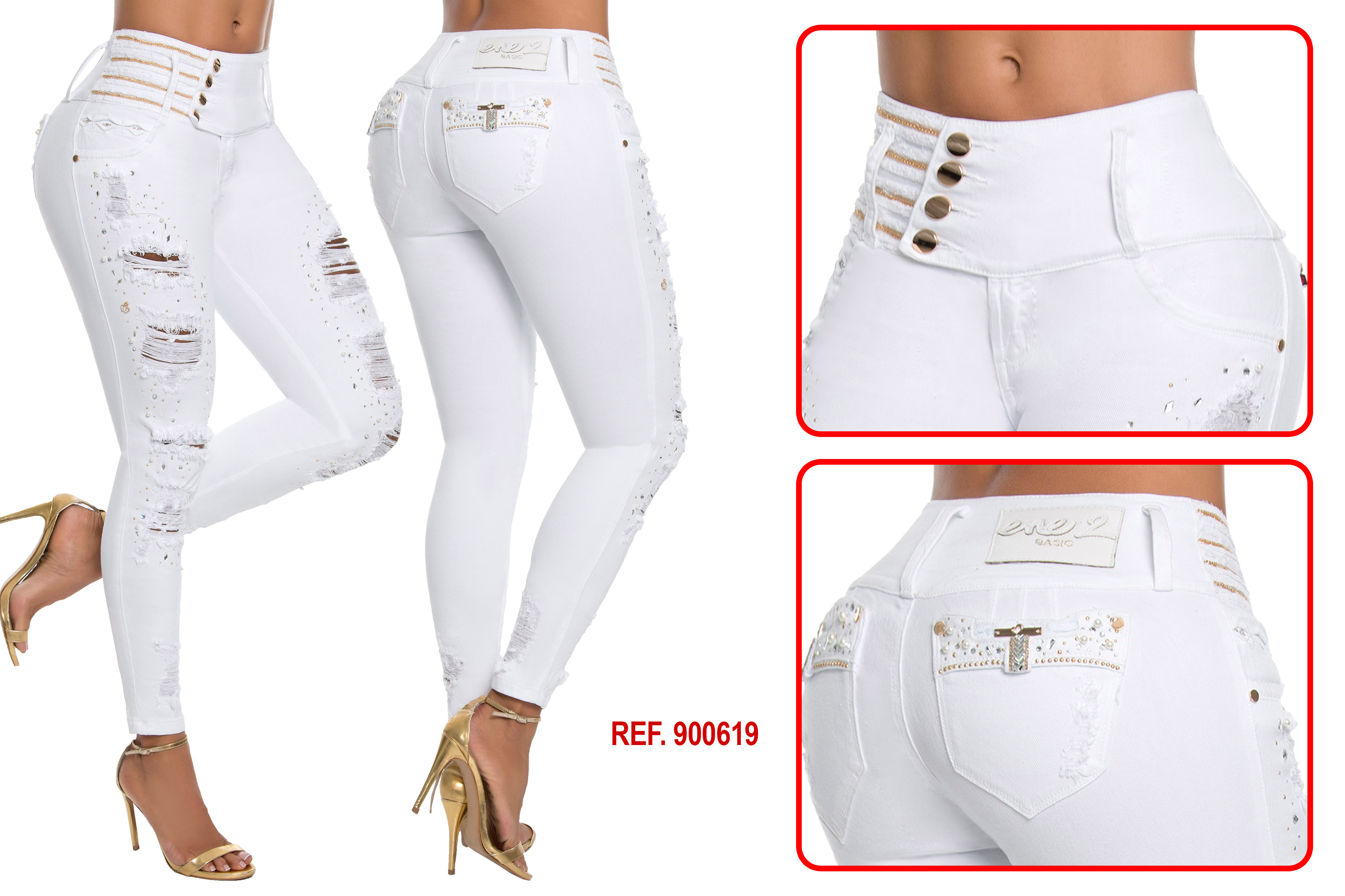 High Waisted Butt lifting Cropped Jeans Ref: 900619