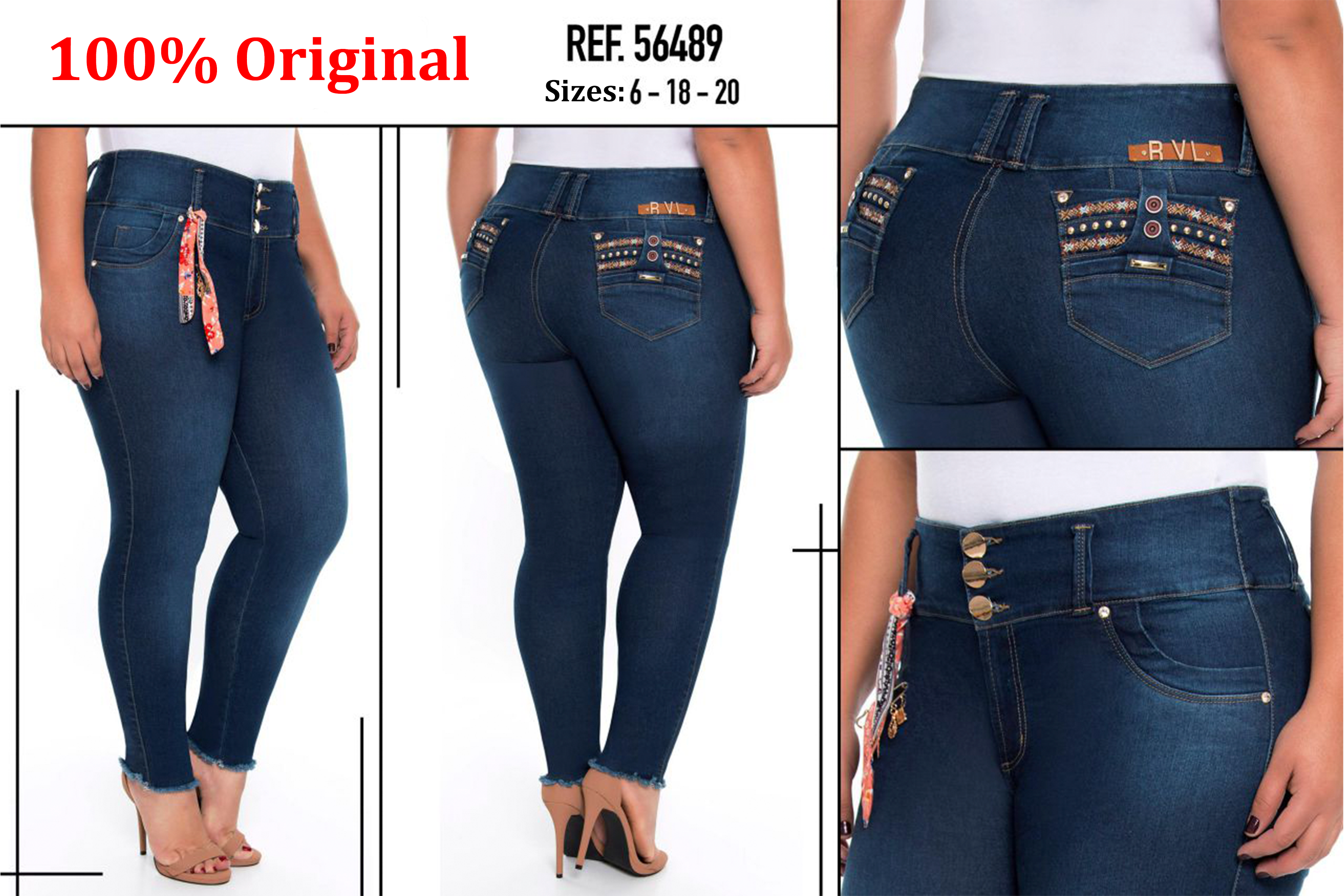 Mid/high Waisted Butt Lifting Jeans Ref: 56489