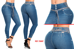 High Waisted Butt lifting Cropped Jeans Ref: 700697